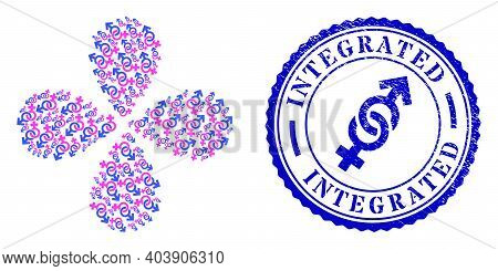 Straight Sex Symbol Curl Flower Cluster, And Blue Round Integrated Rubber Watermark With Icon Inside