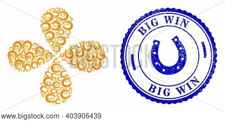 Lucky Horseshoe Exploding Flower With Four Petals, And Blue Round Big Win Unclean Watermark With Ico