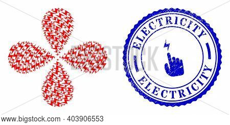 Electric Hazard Rotation Flower Cluster, And Blue Round Electricity Grunge Badge With Icon Inside. O
