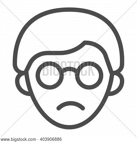 Head Of A Blind Guy With Glasses Line Icon, Disability Concept, Blind Man Sign On White Background,