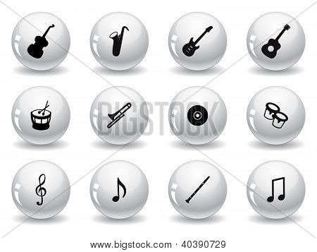 Web buttons, musical icons