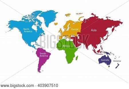 World Continents Map, Separate Individual Continent With Names, Color Map Isolated On White Backgrou