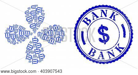 Euro Bank Building Curl Flower Cluster, And Blue Round Bank Unclean Rubber Print With Icon Inside. E