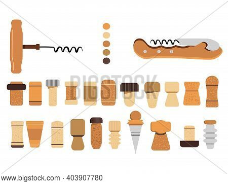 Cork Stoppers Collection. Different Types And Forms Bungs And Plugs For Alcohol Bottles. Tailspin Fo