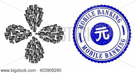 Banking Card Twirl Abstract Flower, And Blue Round Mobile Banking Rubber Stamp Seal With Icon Inside