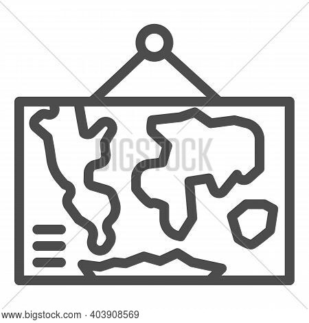 World Political Map Line Icon, Education Concept, World Map Political Sign On White Background, Worl