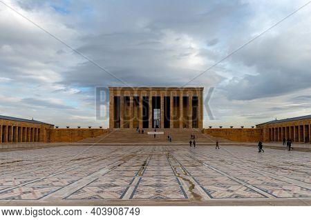 Ankara, Turkey - 14 December 2020: Mausoleum Of Ataturk In Anitkabir Outside