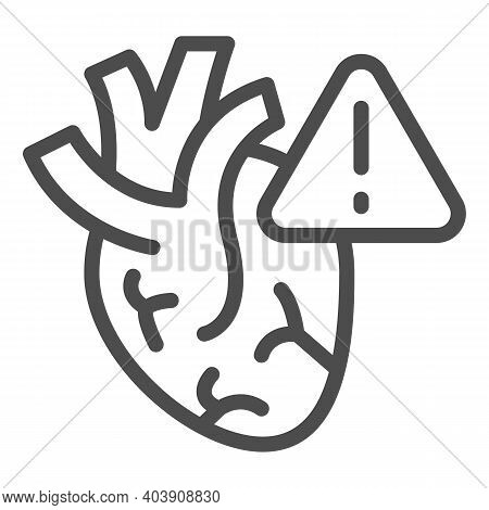 Heart Risk Of Stroke Line Icon, Disability Concept, Heart Attack Sign On White Background, Symptoms