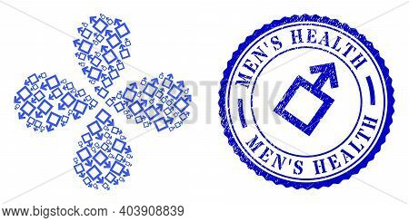 Male Symbol Exploding Fireworks, And Blue Round Mens Health Rubber Badge With Icon Inside. Element F