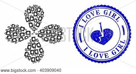 Favourite Cup Centrifugal Flower With Four Petals, And Blue Round I Love Girl Corroded Stamp Seal Wi