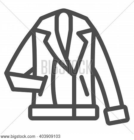 Man Winter Coat Line Icon, Winter Clothes Concept, Winter Jacket Sign On White Background, Warm Coat