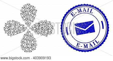 Mail Envelope Twirl Flower With Four Petals, And Blue Round E-mail Unclean Stamp Imitation With Icon