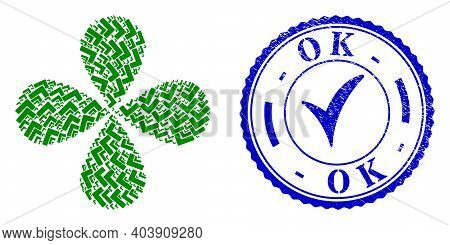 Ok Sign Centrifugal Flower With Four Petals, And Blue Round Ok Rough Rubber Print With Icon Inside.