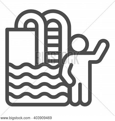 Swimming Pool With Ladder And Person Line Icon, Waterpark Concept, Swimmer Sign On White Background,