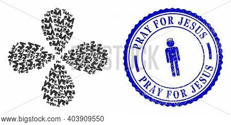 Praying Girl Twirl Flower With Four Petals, And Blue Round Pray For Jesus Grunge Stamp With Icon Ins