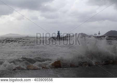 Bodrum, Turkey. 18 January  2018: Southern Windstorm In The Aegean Sea. The Waves Exceeded Over The