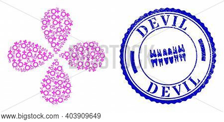 Devil Female Symbol Centrifugal Bang, And Blue Round Devil Scratched Rubber Print With Icon Inside.