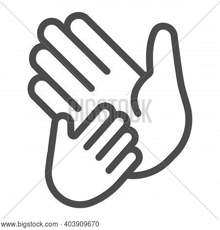 Child Hand On Adult Palm Line Icon, Mother Day Concept, Child Care Sign On White Background, Helping
