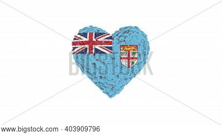 Fiji National Day. Independence Day. October 10. Heart Shape Made Out Of Flowers On White Background