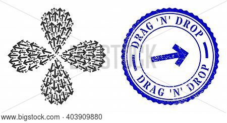 Direction Arrow Curl Burst, And Blue Round Drag N Drop Textured Stamp Print With Icon Inside. Elemen