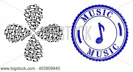 Music Notes Twirl Fireworks, And Blue Round Music Scratched Stamp Seal With Icon Inside. Object Flow