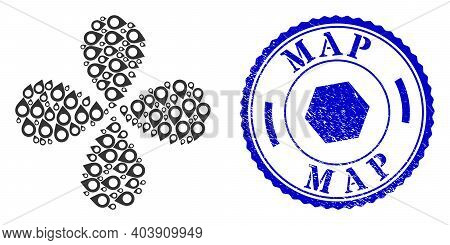 Map Pointer Centrifugal Abstract Flower, And Blue Round Map Rubber Print With Icon Inside. Element T
