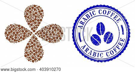 Cacao Beans Swirl Fireworks, And Blue Round Arabic Coffee Rubber Stamp With Icon Inside. Object Flow