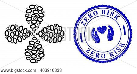 Digit Zero Curl Fireworks, And Blue Round Zero Risk Rubber Badge With Icon Inside. Element Flower Wi