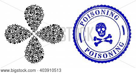 Death Skull Curl Abstract Flower, And Blue Round Poisoning Rubber Print With Icon Inside. Object Twi