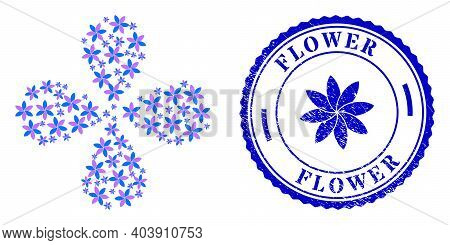 Flower Curl Flower Cluster, And Blue Round Flower Rough Stamp Imitation With Icon Inside. Element Fl