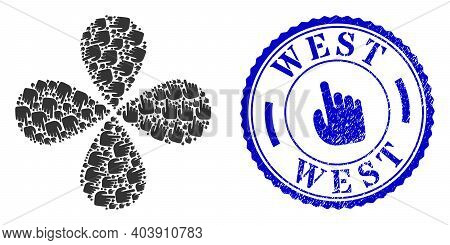 Index Finger Twirl Flower With Four Petals, And Blue Round West Rough Watermark With Icon Inside. Ob