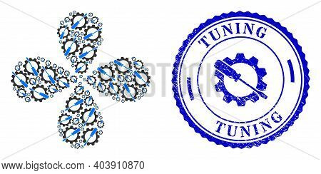 Wrench Tuning Explosion Flower Cluster, And Blue Round Tuning Grunge Seal With Icon Inside. Element