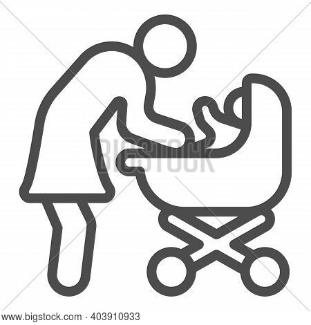 Mother And Baby In Stroller Line Icon, Mother Day Concept, Mom With Baby Carriage Sign On White Back