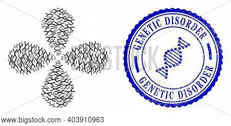 Chromosome Curl Bang, And Blue Round Genetic Disorder Unclean Stamp Print With Icon Inside. Element