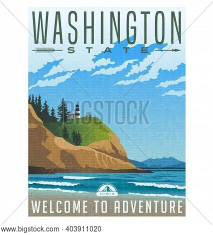 Washington State Travel Poster Or Sticker.  Vector Illustration Of Rugged Shoreline And Lighthouse.