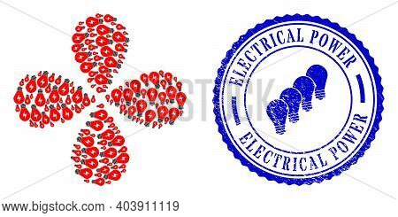 Electric Bulb Exploding Flower Cluster, And Blue Round Electrical Power Scratched Stamp With Icon In