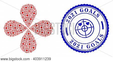 Bullseye Rotation Flower With Four Petals, And Blue Round 2021 Goals Corroded Stamp Imitation With I