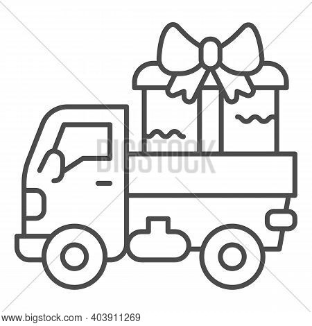 Truck With A Big Gift Thin Line Icon, Shopping Concept, Delivery Truck With A Big Gift Sign On White