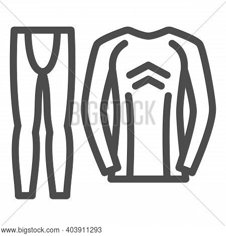 Thermal Underwear Line Icon, Winter Clothes Concept, Pants And Longsleeve Sign On White Background,