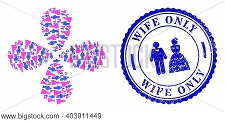 Wedding Pair Exploding Abstract Flower, And Blue Round Wife Only Scratched Stamp Imitation With Icon