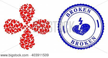 Broken Love Heart Twirl Flower With Four Petals, And Blue Round Broken Grunge Watermark With Icon In