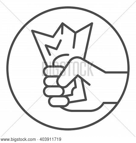 Hand Holds Crumpled Bill Thin Line Icon, Shopping Concept, Hand Catching Money Sign On White Backgro
