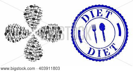 Food Utensil Explosion Flower Shape, And Blue Round Diet Rough Rubber Print With Icon Inside. Object
