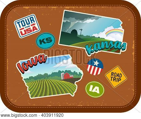 Iowa And Kansas Travel Stickers With Scenic Rural Landscapes And Retro Text On Vintage Suitcase Back