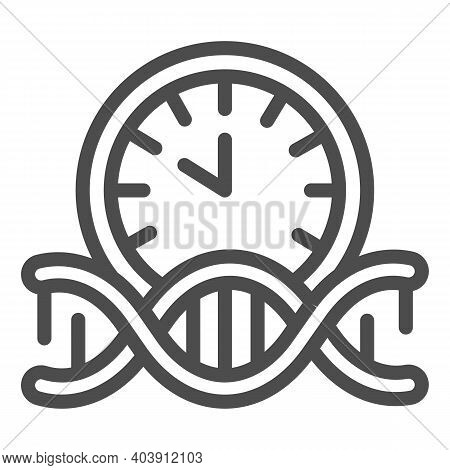 Dna Human Clock Line Icon, Human Health Concept, Dna With Alarm Clock Sign On White Background, Dna