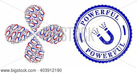 Magnet Field Curl Burst, And Blue Round Powerful Grunge Stamp Imitation With Icon Inside. Object Flo