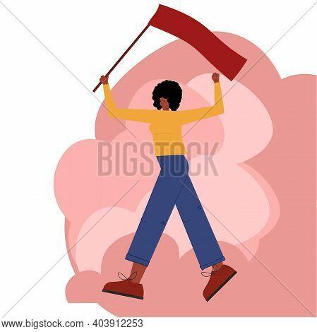 A Dark-skinned Communist Girl Walks And Waves A Red Flag, Welcoming The Socialist Revolution. Vector