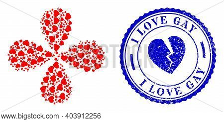 Favorite Hearts Explosion Flower With Four Petals, And Blue Round I Love Gay Rubber Badge With Icon