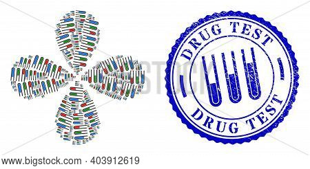 Analysis Test Tubes Exploding Flower Cluster, And Blue Round Drug Test Grunge Rubber Print With Icon