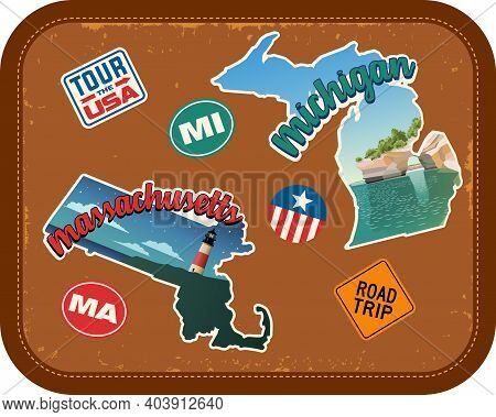 Massachusetts, Michigan Travel Stickers With Scenic Attractions And Retro Text On Vintage Suitcase B